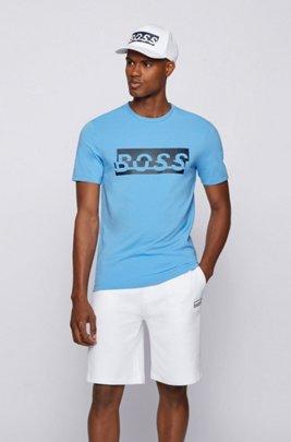 T-shirt en coton stretch avec logo artistique de la nouvelle saison, Bleu