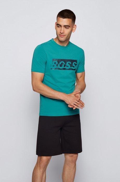 T-shirt in cotone elasticizzato con grafica con logo della nuova stagione, Turchese