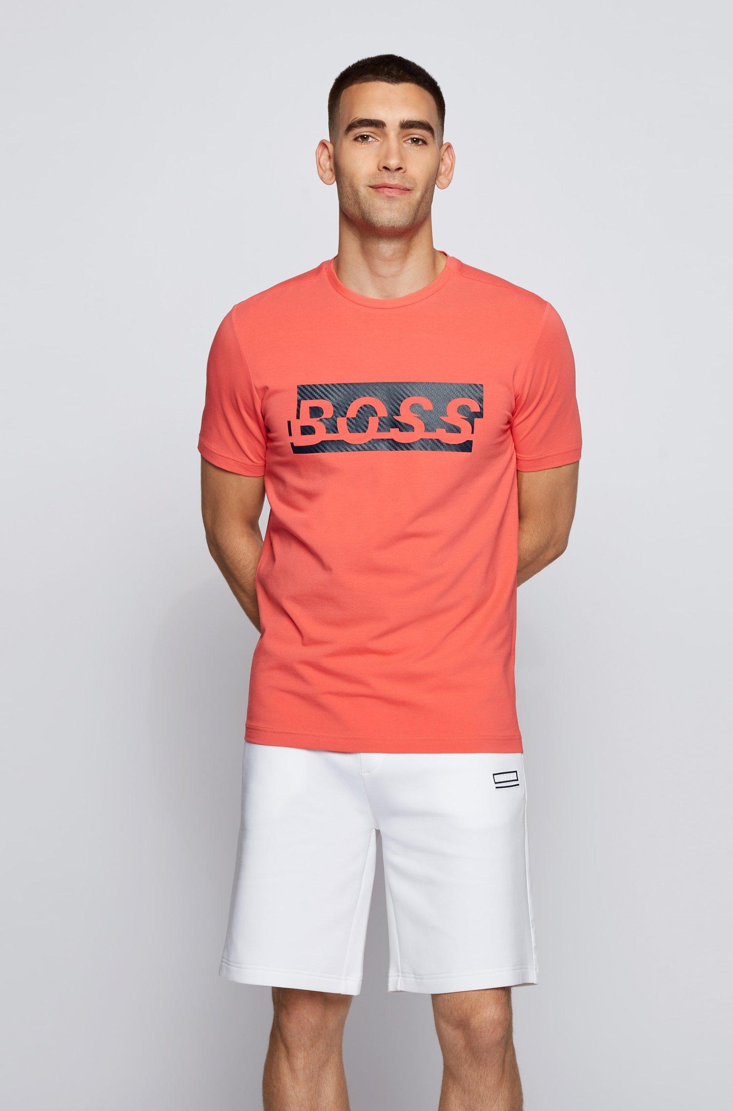 Stretch-cotton T-shirt with new-season logo artwork, Light Red