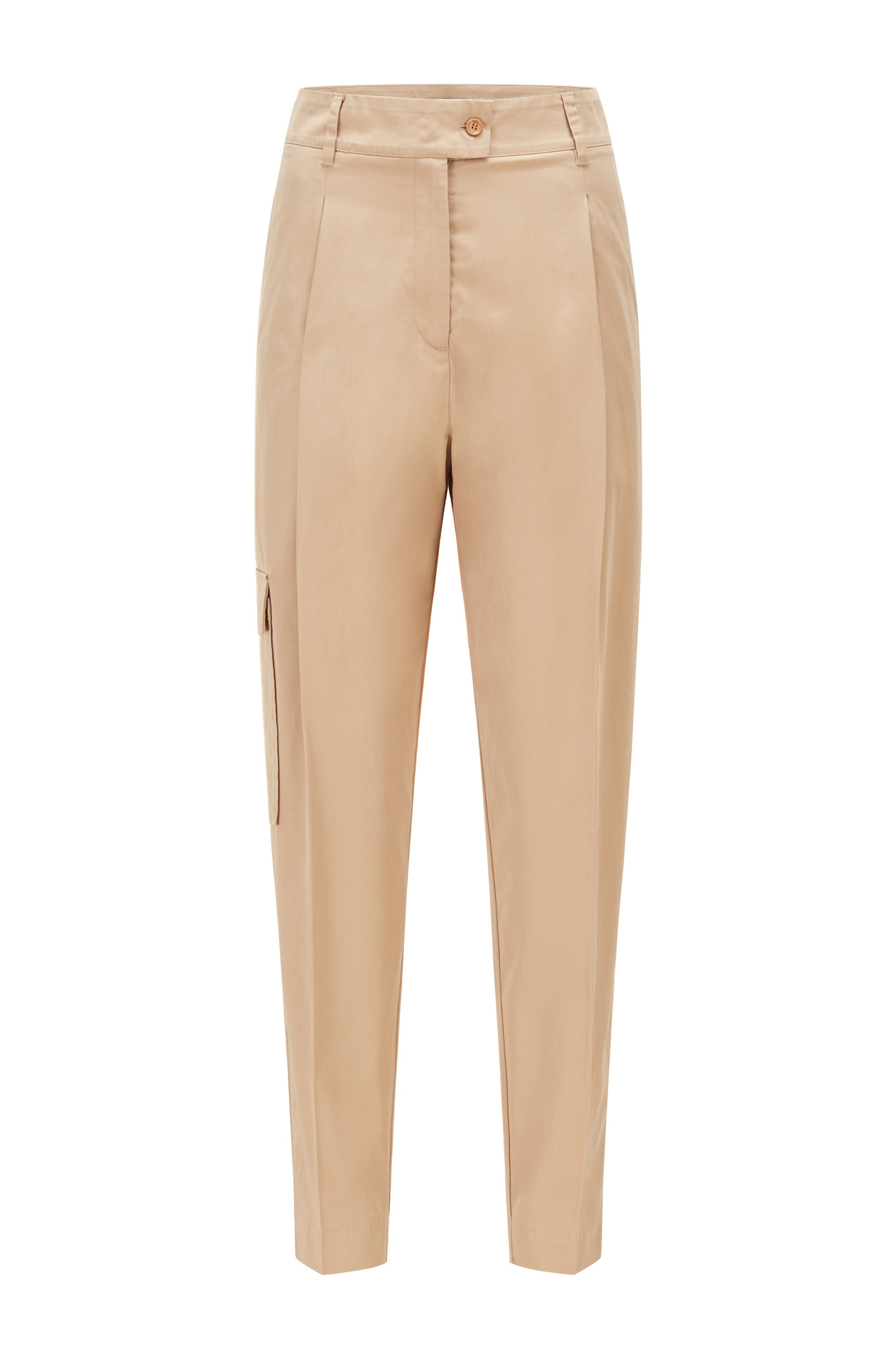 Relaxed-fit trousers in cotton-blend twill, Beige