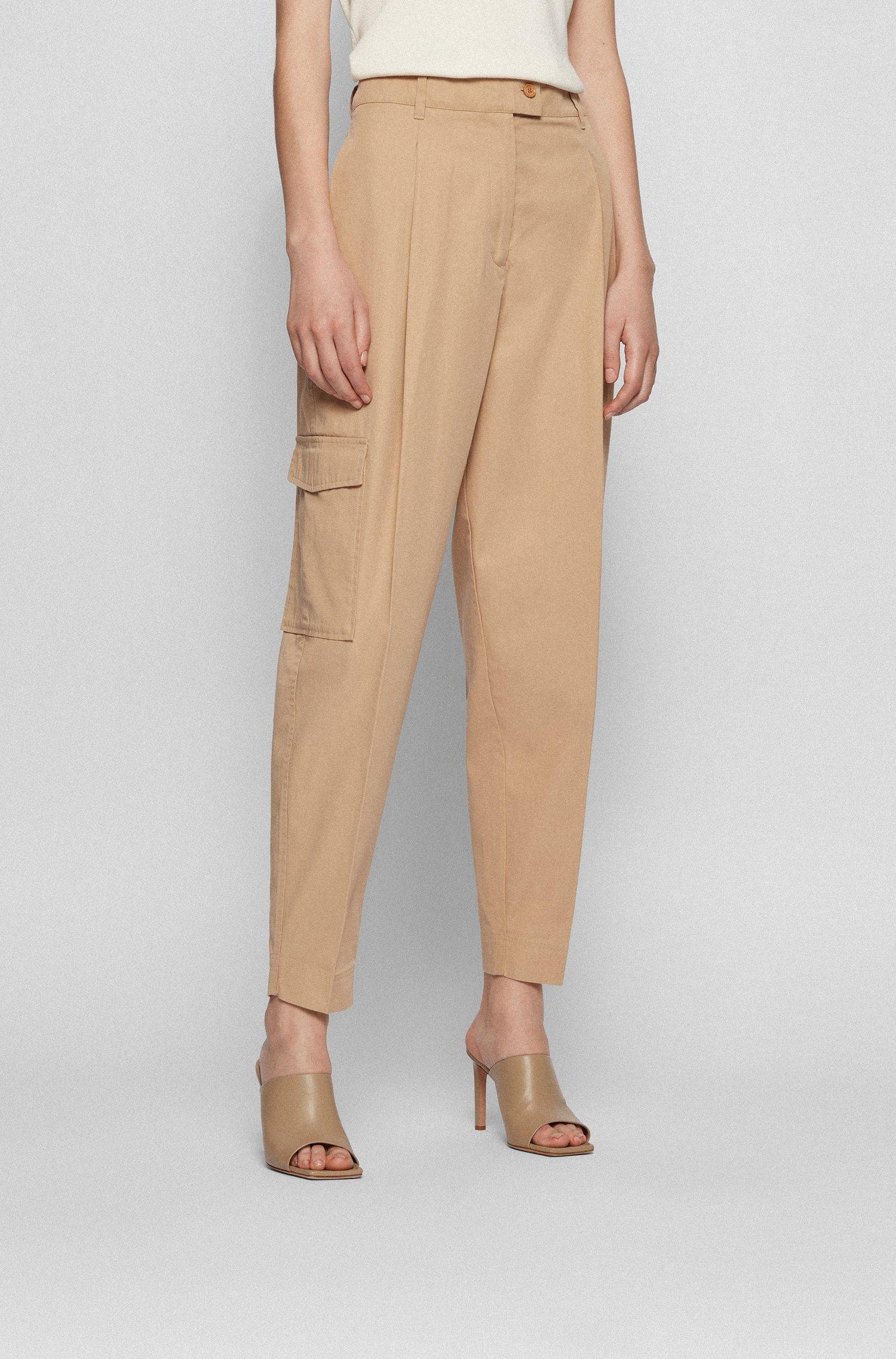 Pantalon Relaxed Fit en twill de coton mélangé, Beige