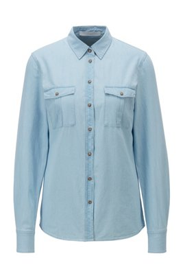 Regular-fit blouse in washed denim with chest pockets, Light Blue