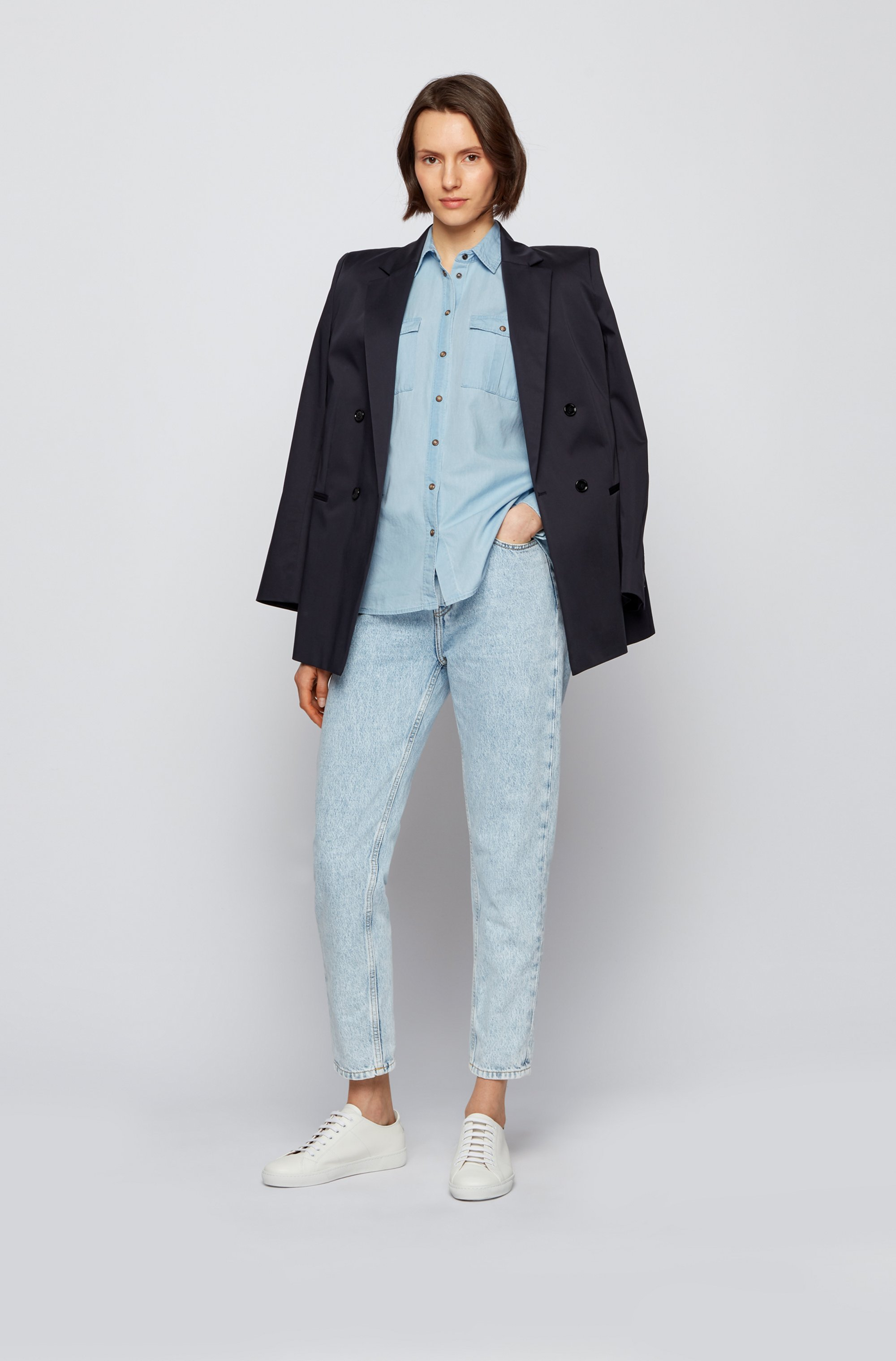 Regular-fit blouse in washed denim with chest pockets
