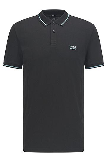 S.Café® 面料灵活弹力修身 Polo 衫,  001_Black