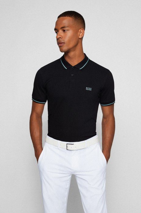Active-stretch slim-fit polo shirt in S.Café® fabric, Black
