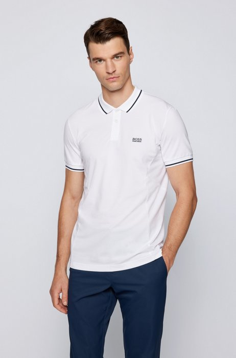 Active-stretch slim-fit polo shirt in S.Café® fabric, White