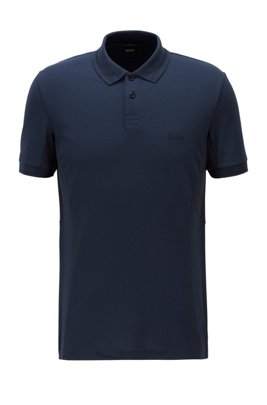 Active-stretch slim-fit polo shirt in S.Café® fabric, Dark Blue