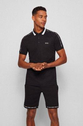 Polo Slim Fit en coton à col rayé, Noir