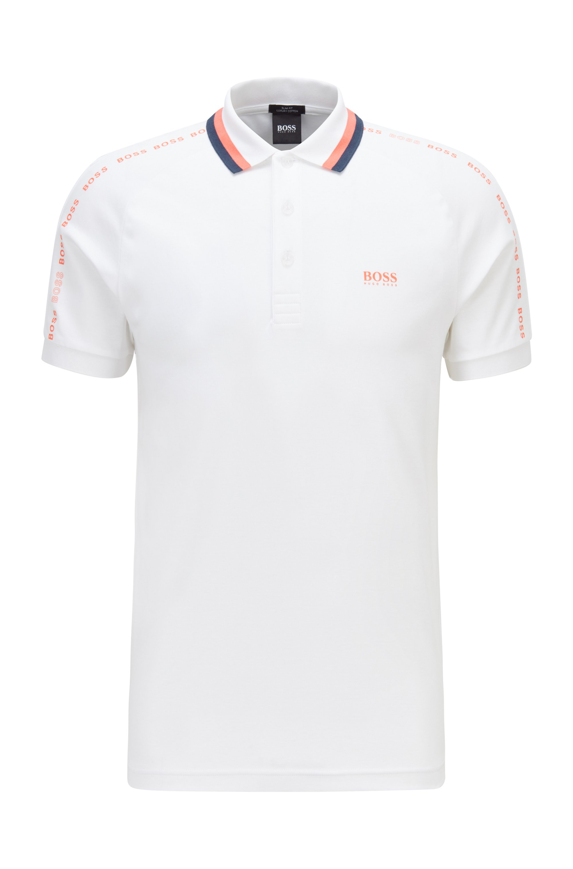Slim-fit polo shirt in cotton with striped collar, White