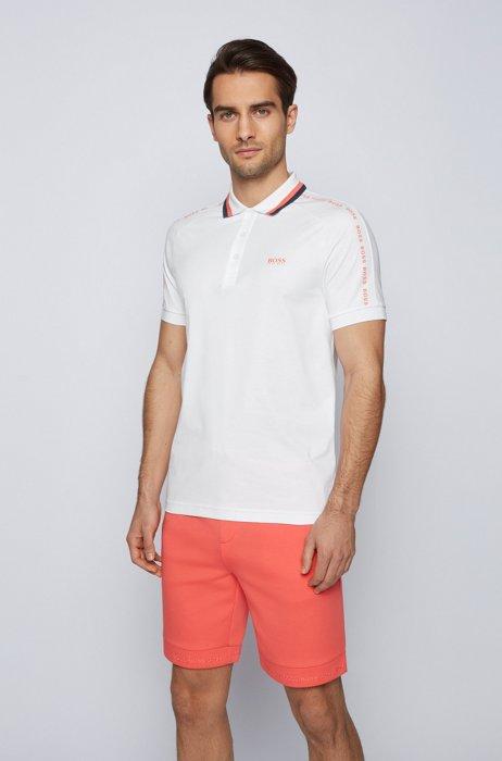 Polo Slim Fit en coton à col rayé, Blanc