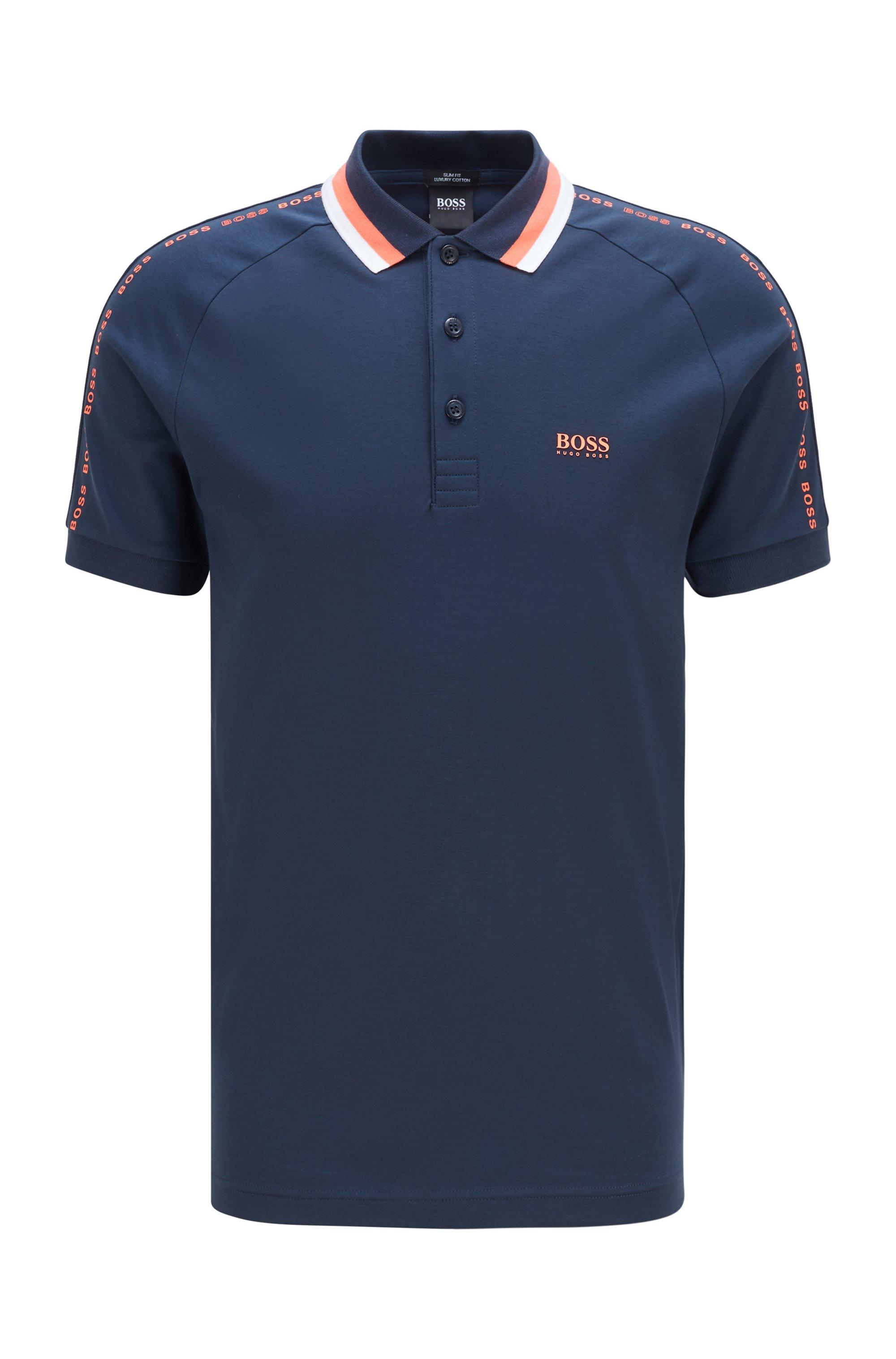 Polo Slim Fit en coton à col rayé, Bleu foncé