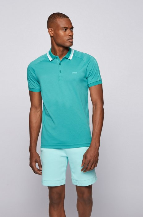 Slim-fit polo shirt in cotton with striped collar, Turquoise
