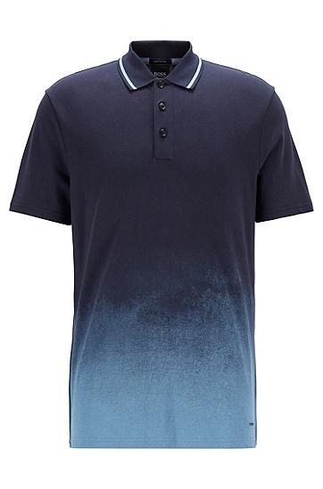 渐变色印花皮马棉珠地布 Polo 衫,  404_Dark Blue
