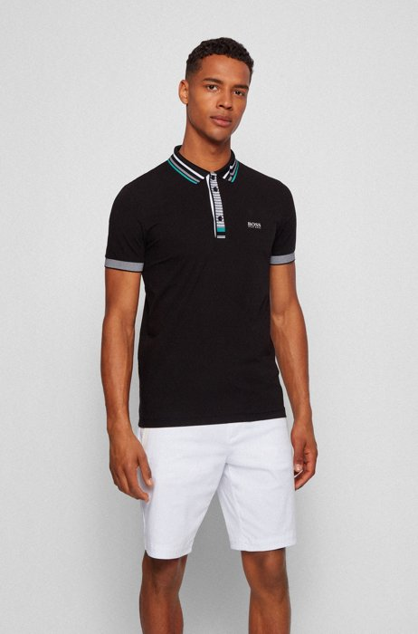 Slim-fit polo shirt in Air Cool stretch cotton, Black