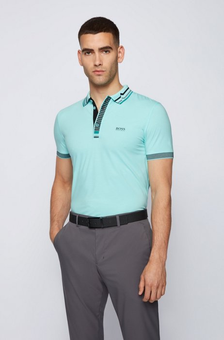 Slim-fit polo shirt in Air Cool stretch cotton, Light Blue