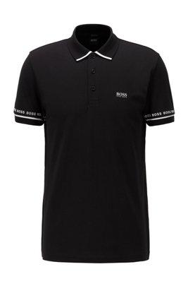 Piqué-Poloshirt aus Pima-Baumwolle mit Logo-Details, Schwarz