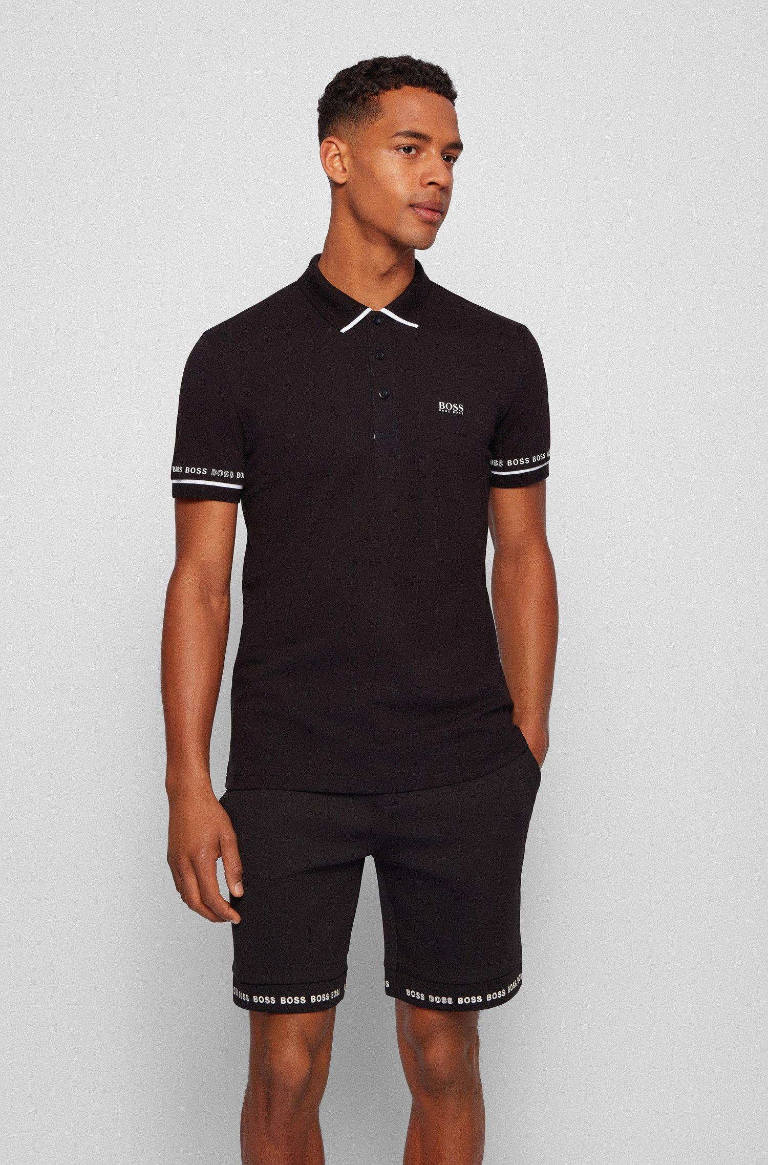 Polo en piqué de coton Pima avec logos, Noir
