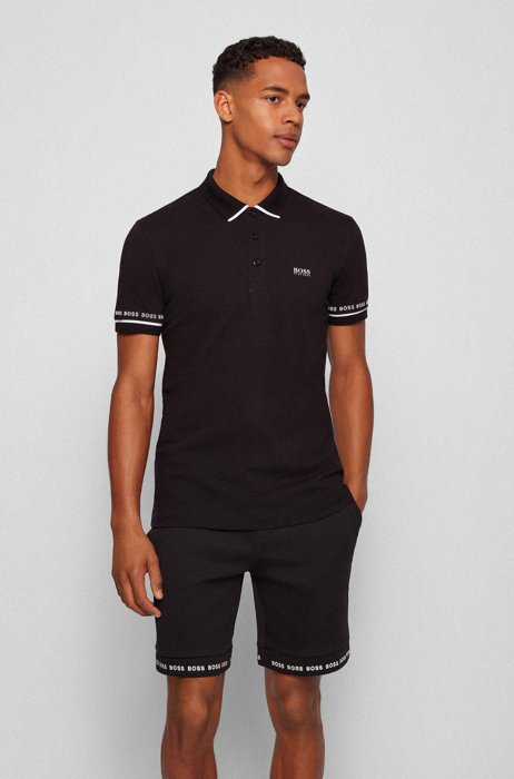 Polo shirt in Pima-cotton piqué with logo details, Black