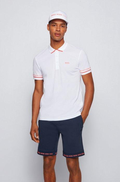 Polo shirt in Pima-cotton piqué with logo details, White