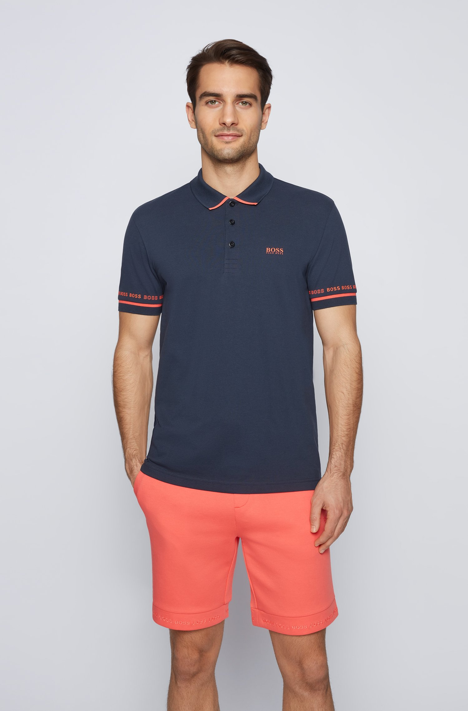 Polo en piqué de coton Pima avec logos, Bleu foncé