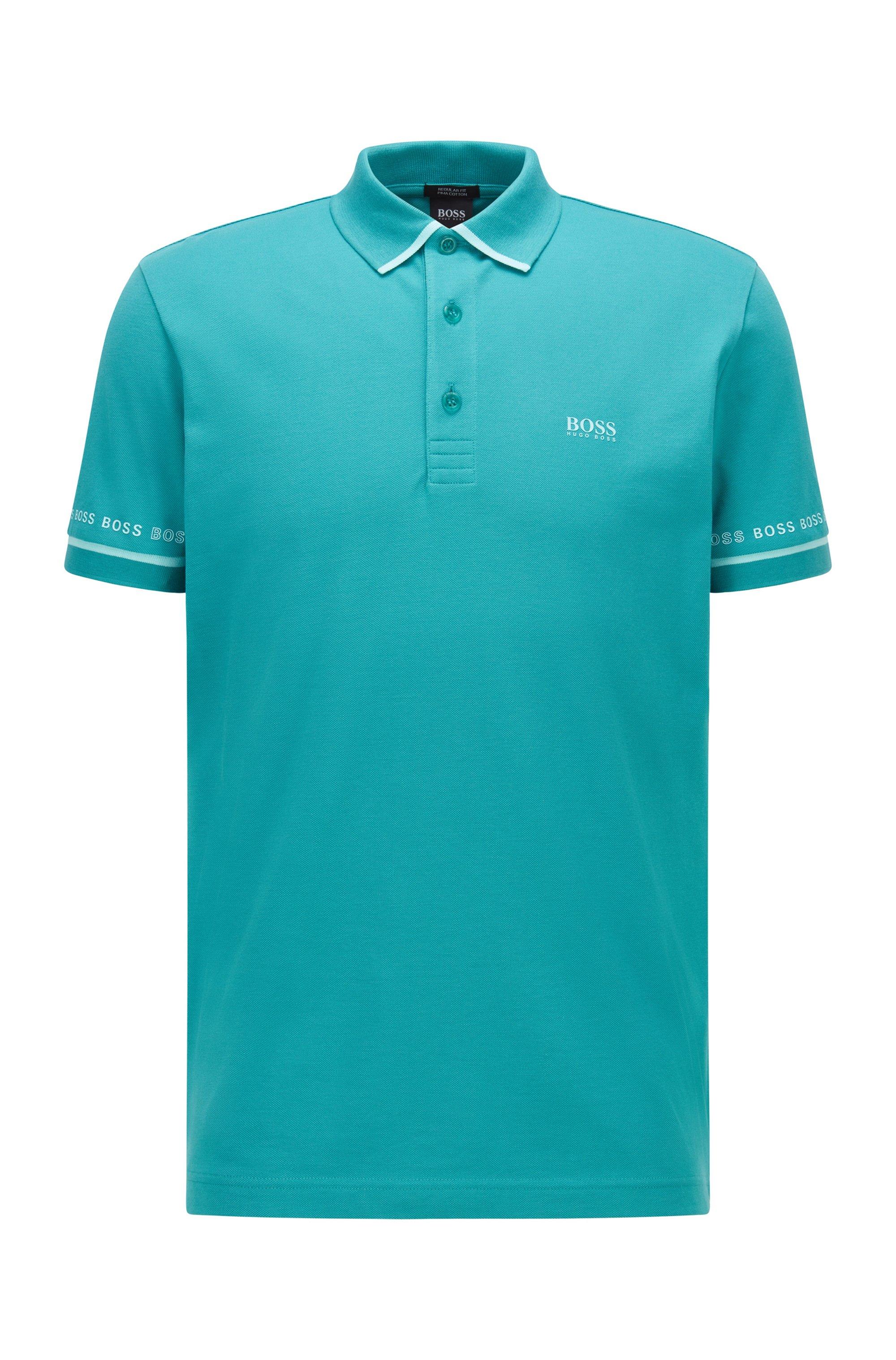 Piqué-Poloshirt aus Pima-Baumwolle mit Logo-Details, Türkis