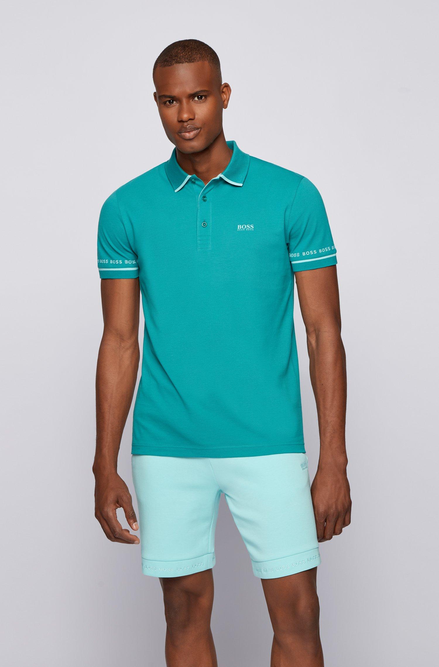 Polo en piqué de coton Pima avec logos, Turquoise