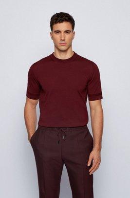 Maglione a maniche corte in cotone mercerizzato, Rosso scuro