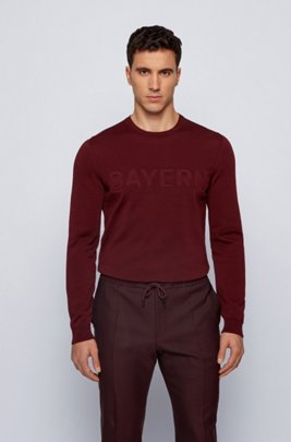 Mercerised-cotton sweater with FC Bayern lettering, Dark Red