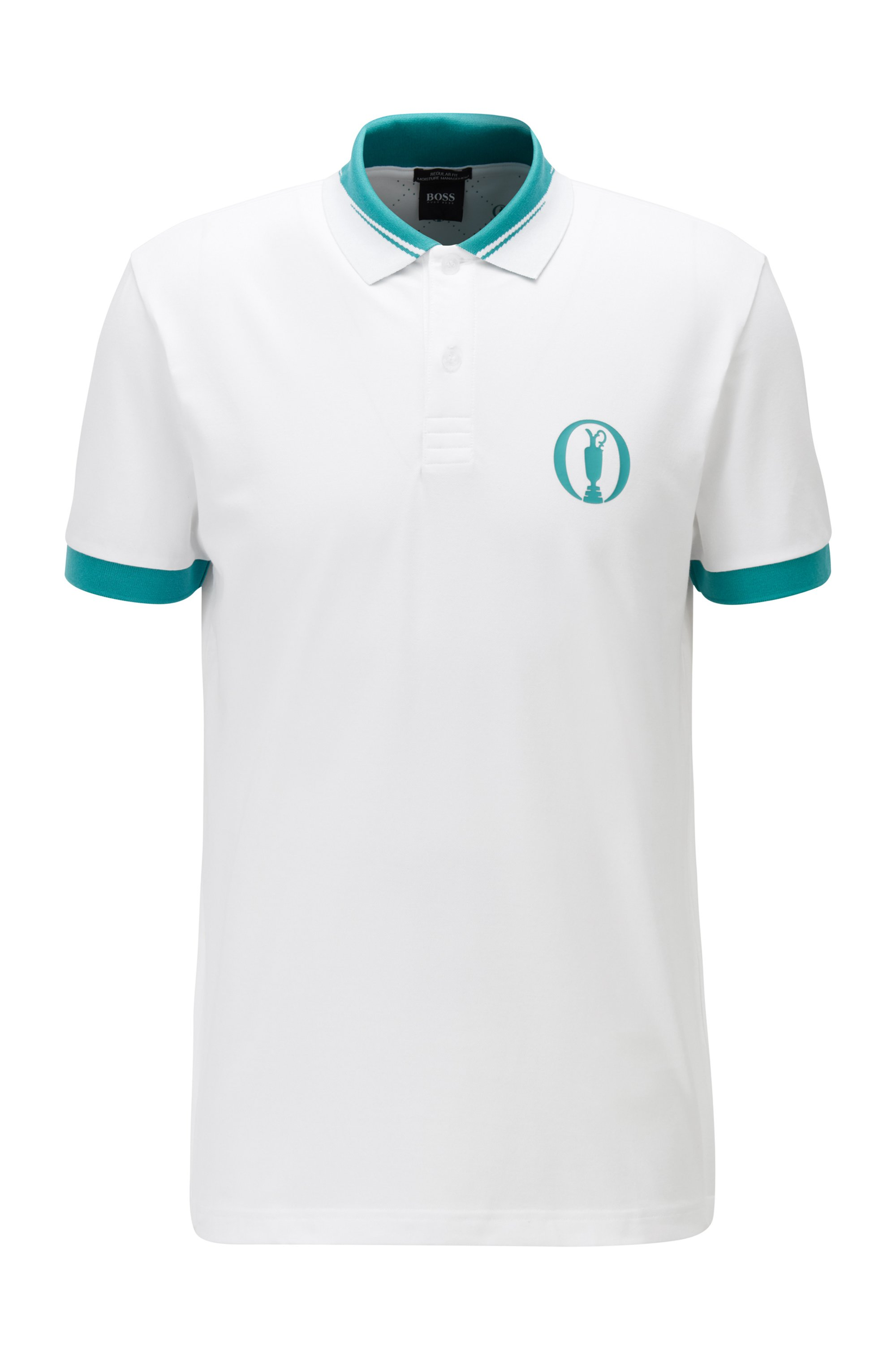 Collection-themed polo shirt in stretch piqué with S.Café®, White