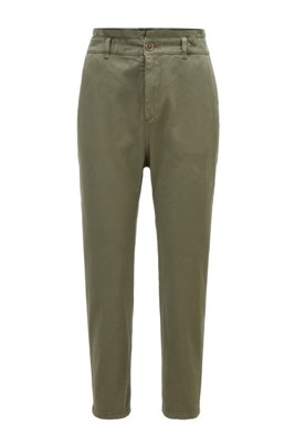 Cropped chinos in stretch cotton, Khaki