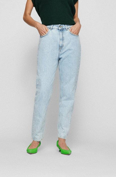 Relaxed-fit jeans in pure-cotton bleached denim, Blue