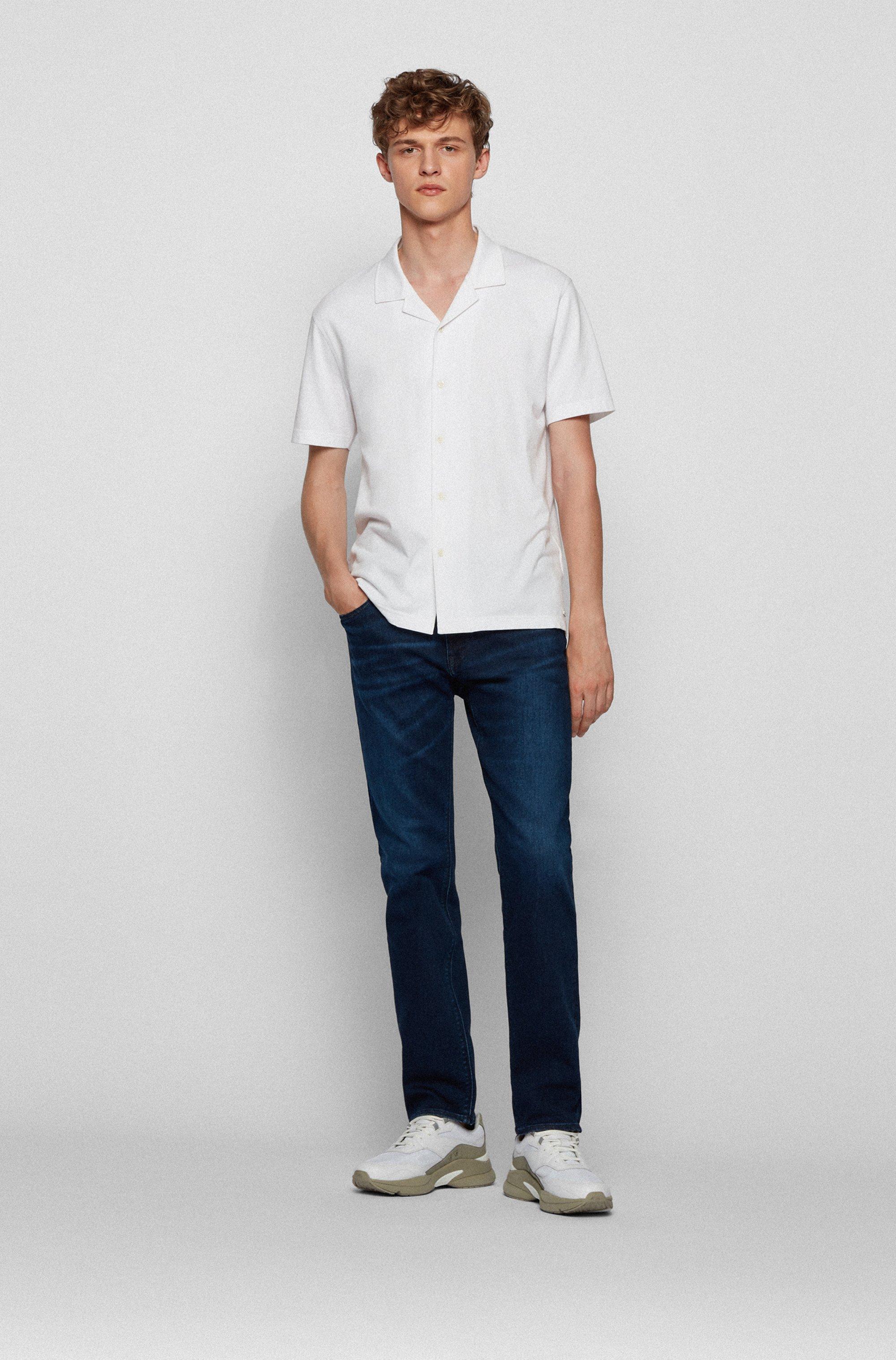 Regular-fit jeans in dark-blue stretch denim