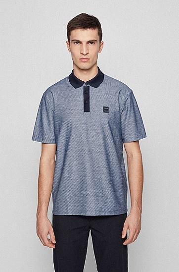 提花棉徽章 Polo 衫,  Dark Blue