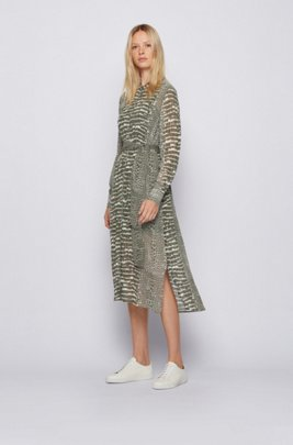 Crocodile-print shirt dress in lightweight canvas, Patterned