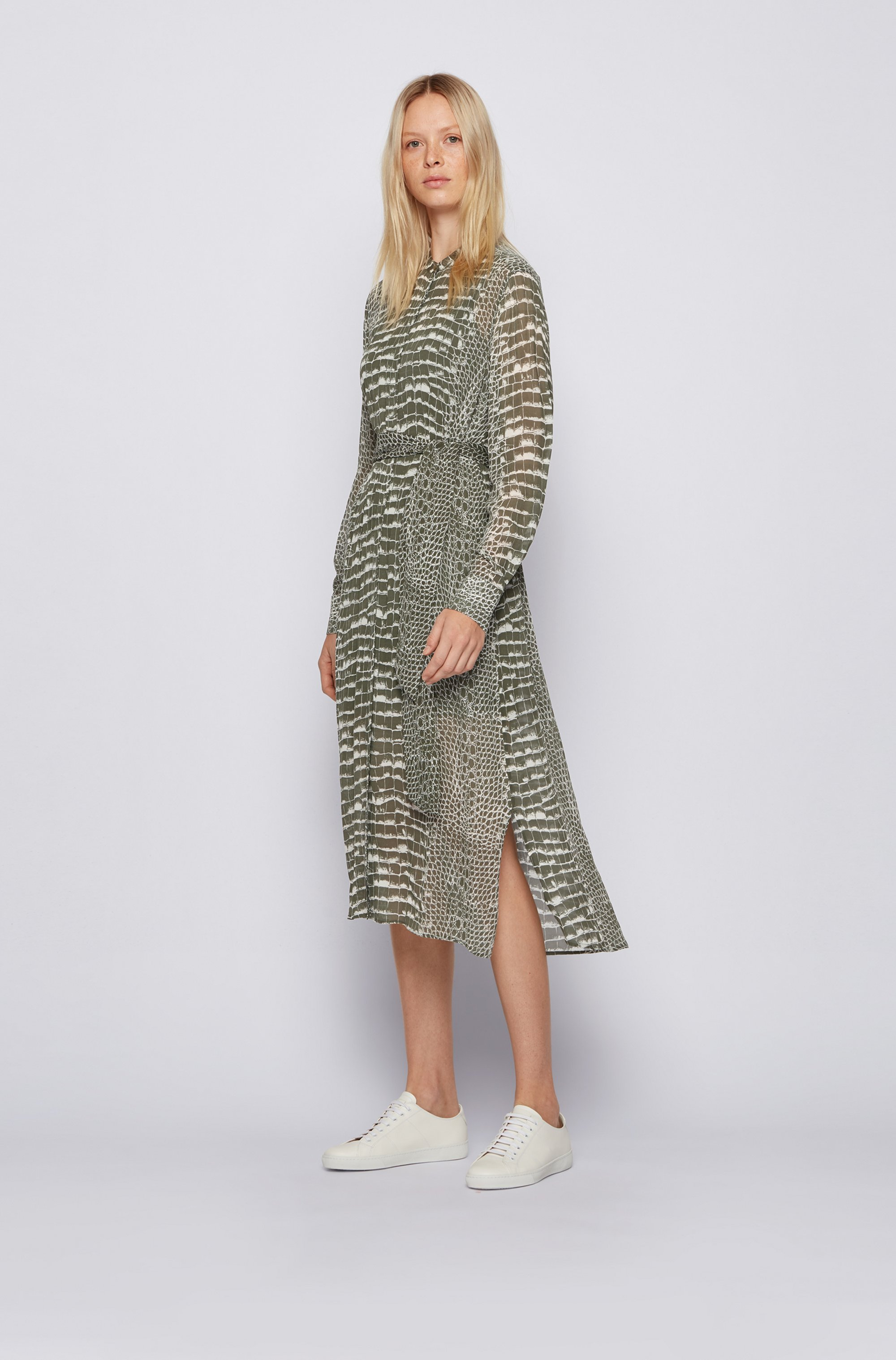 Crocodile-print shirt dress in lightweight canvas