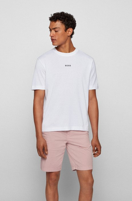 Relaxed-fit T-shirt in paper-touch cotton with logo, White