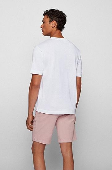 徽标装饰纸感棉质宽松 T 恤,  100_White