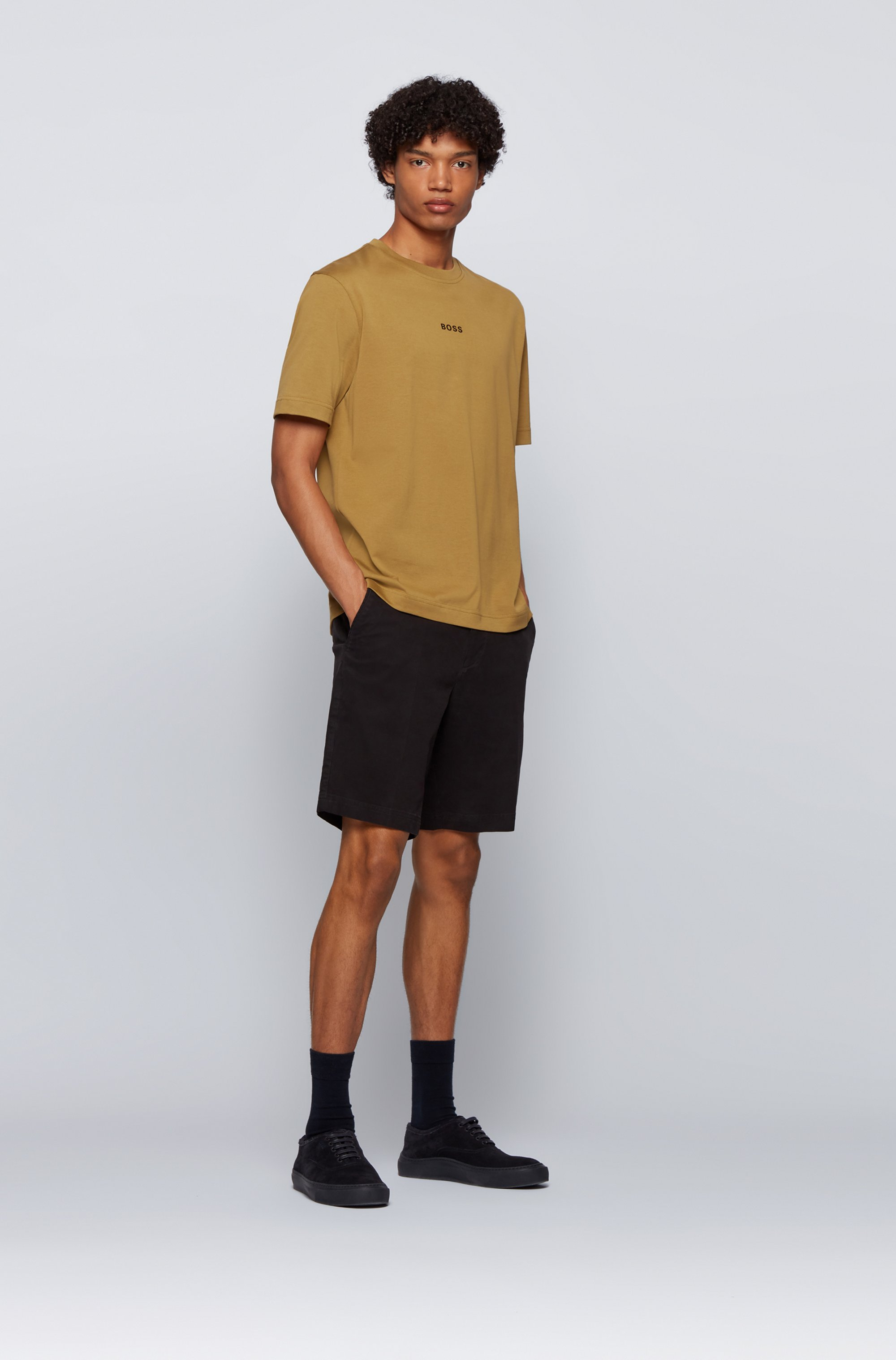 Relaxed-fit T-shirt in paper-touch cotton with logo