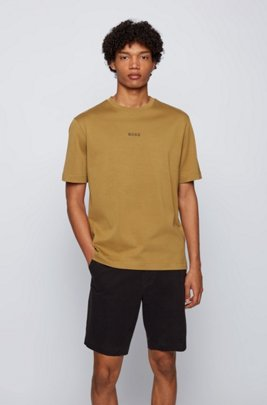 Relaxed-fit T-shirt in paper-touch cotton with logo, Beige
