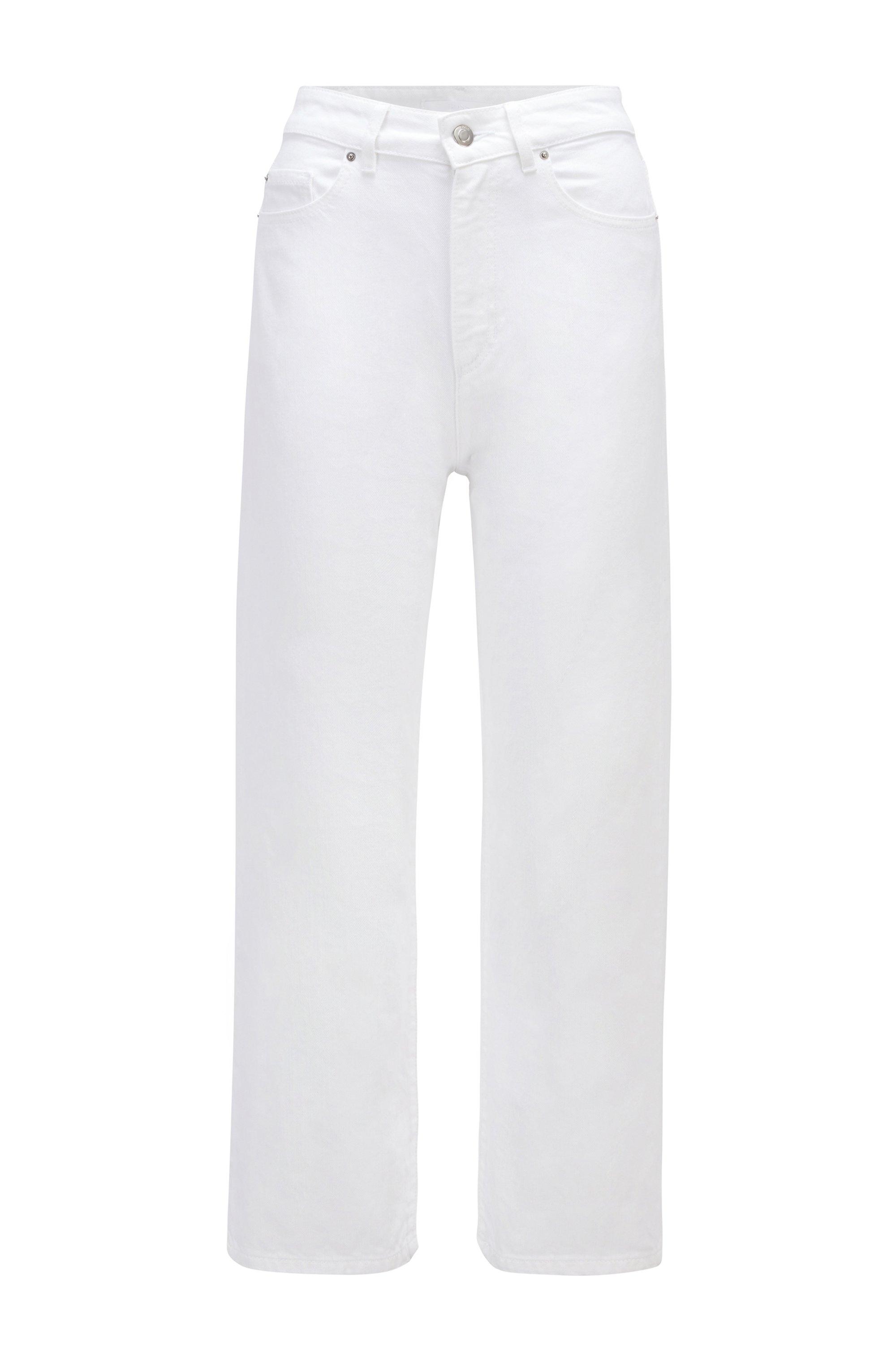 Vaqueros relaxed fit de pernera ancha en denim de puro algodón, Blanco