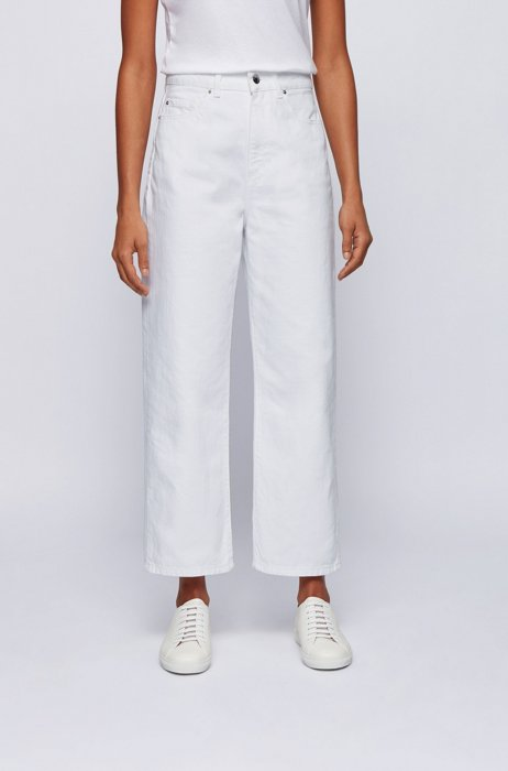 Wide-leg relaxed-fit jeans in pure-cotton denim, White
