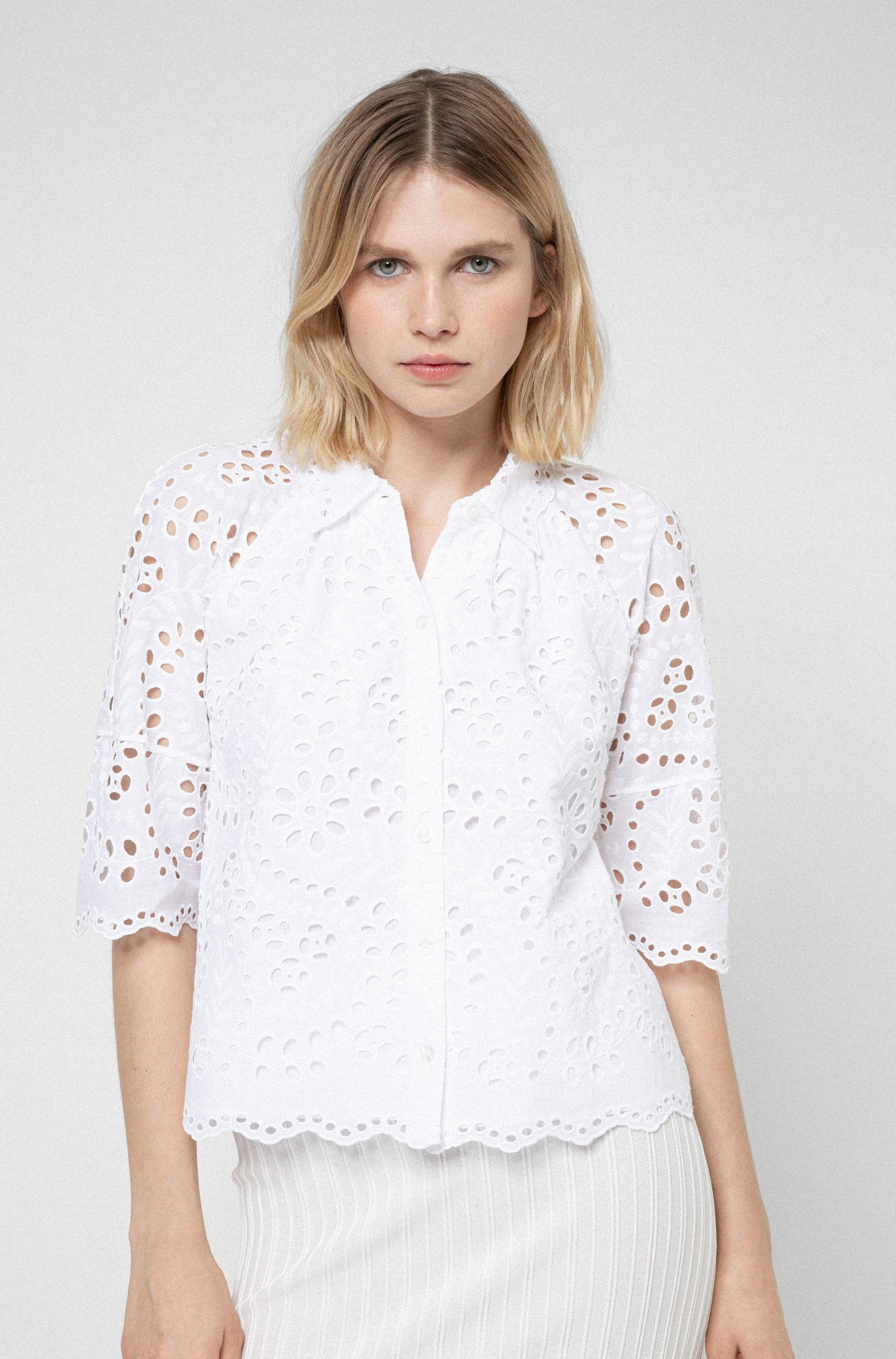 Broderie-anglaise cotton blouse with scalloped edges, White