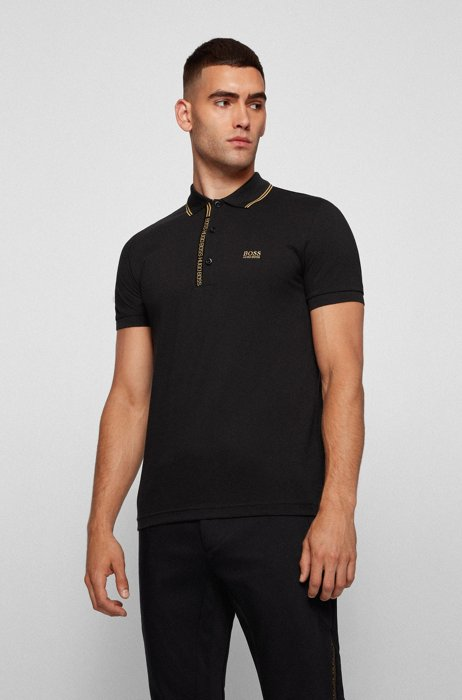 Slim-fit polo shirt in cotton with logo placket, Black