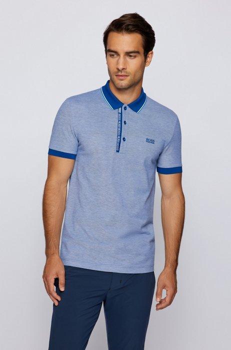 Polo Slim Fit en coton avec patte de boutonnage à logo, Bleu