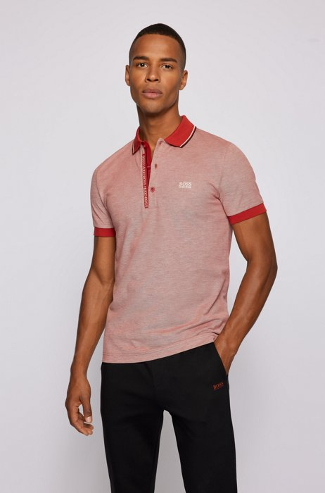 Slim-fit polo shirt in cotton with logo placket, Red