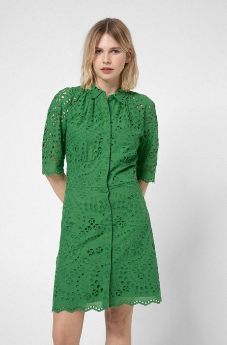 Broderie-anglaise shirt dress with scalloped edges, Green