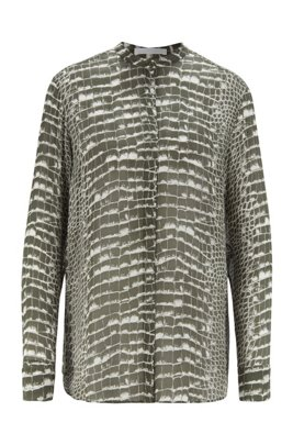 Regular-fit blouse in crocodile-print canvas, Patterned