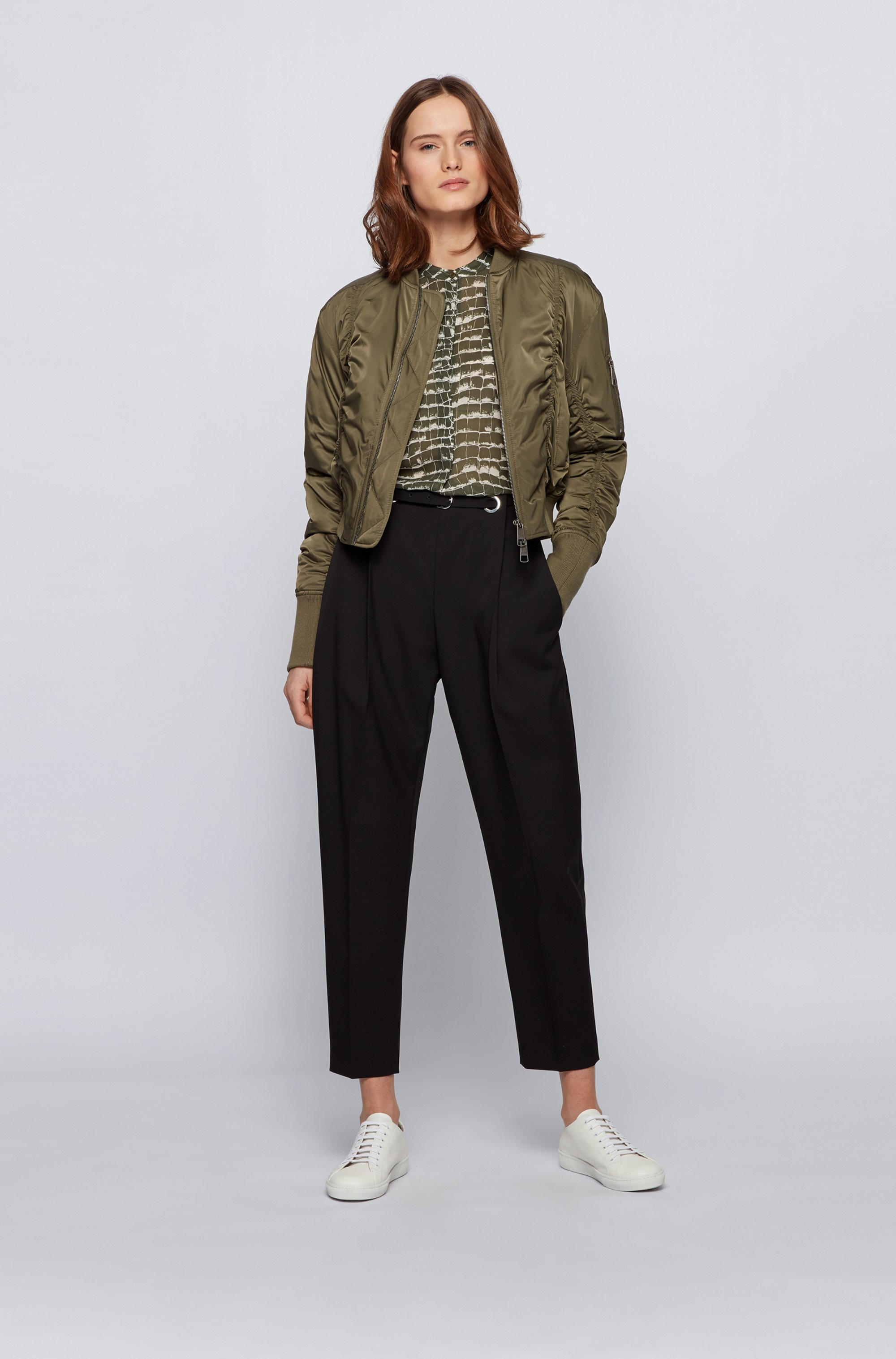 Regular-fit blouse in crocodile-print canvas