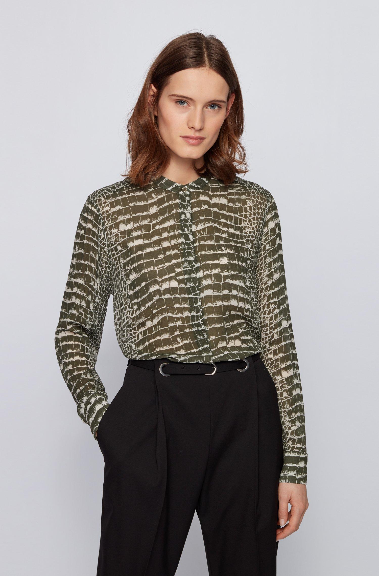 Regular-fit blouse van canvas met krokoprint, Bedrukt