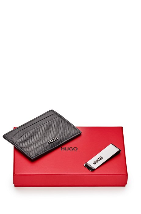 Gift-boxed card holder in leather and money clip, Black